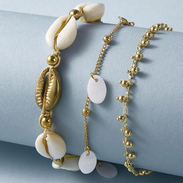 3pcs Shell Decor Anklet, Gold