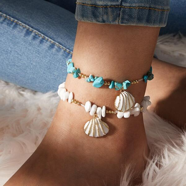 2pcs Shell Charm Beaded Anklet, Multicolor