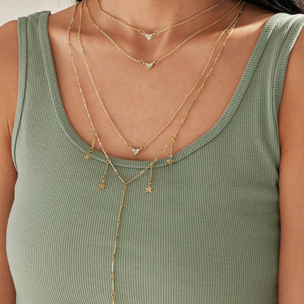 1pc Star & Heart Charm Layered Necklace, Gold