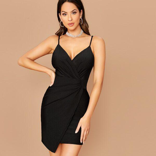 Surplice Wrap Asymmetrical Hem Bodycon Dress, Black