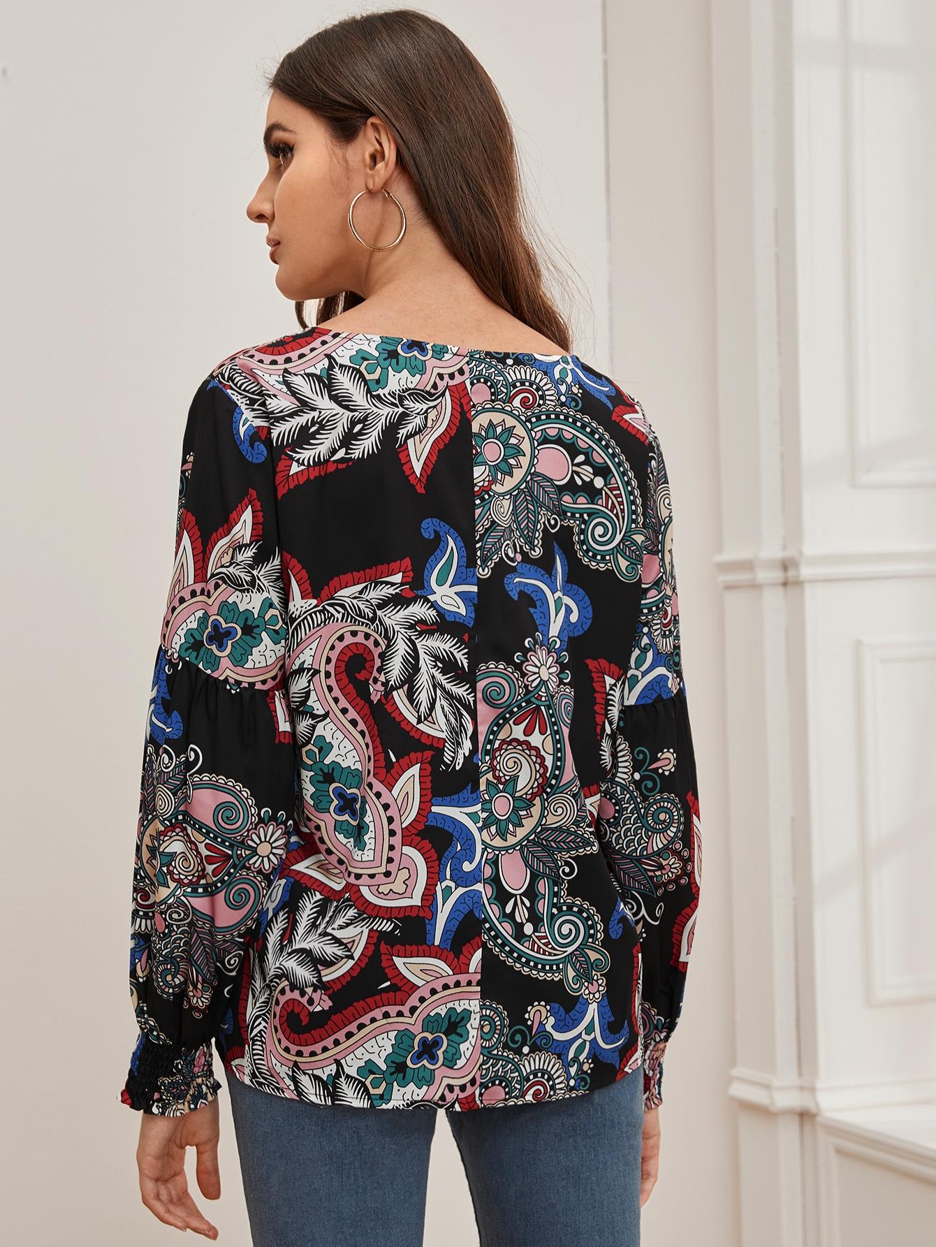 SHEIN / Camisa de manga farol con estampado de paisley