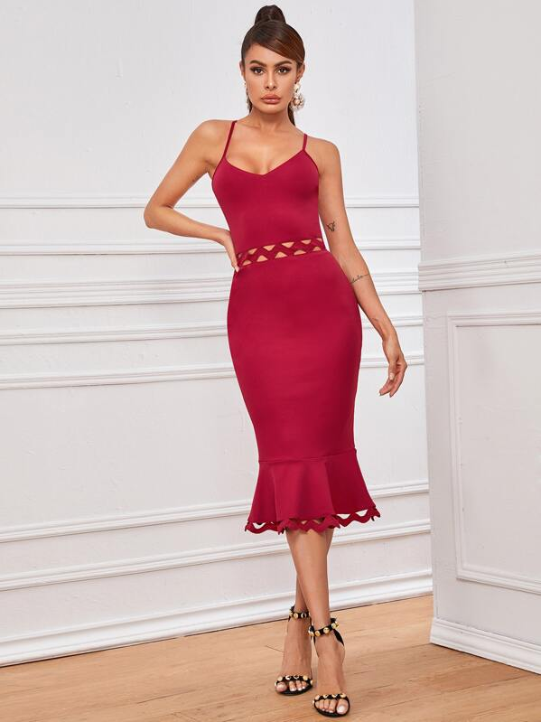 Cutout Chevron Lace Insert Fishtail Dress, Red, Andy
