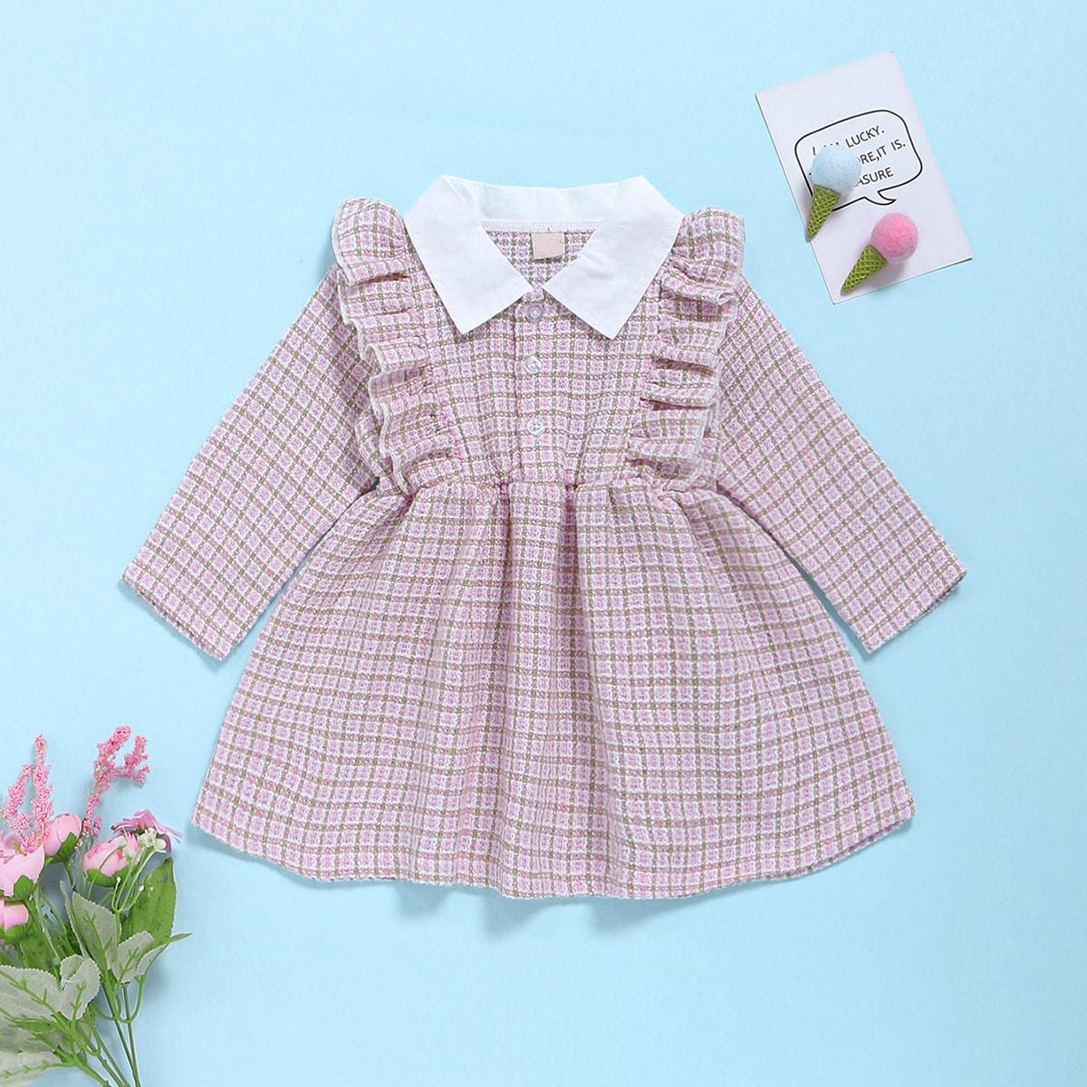 Твидовое платье с оборками для девочек от SHEIN