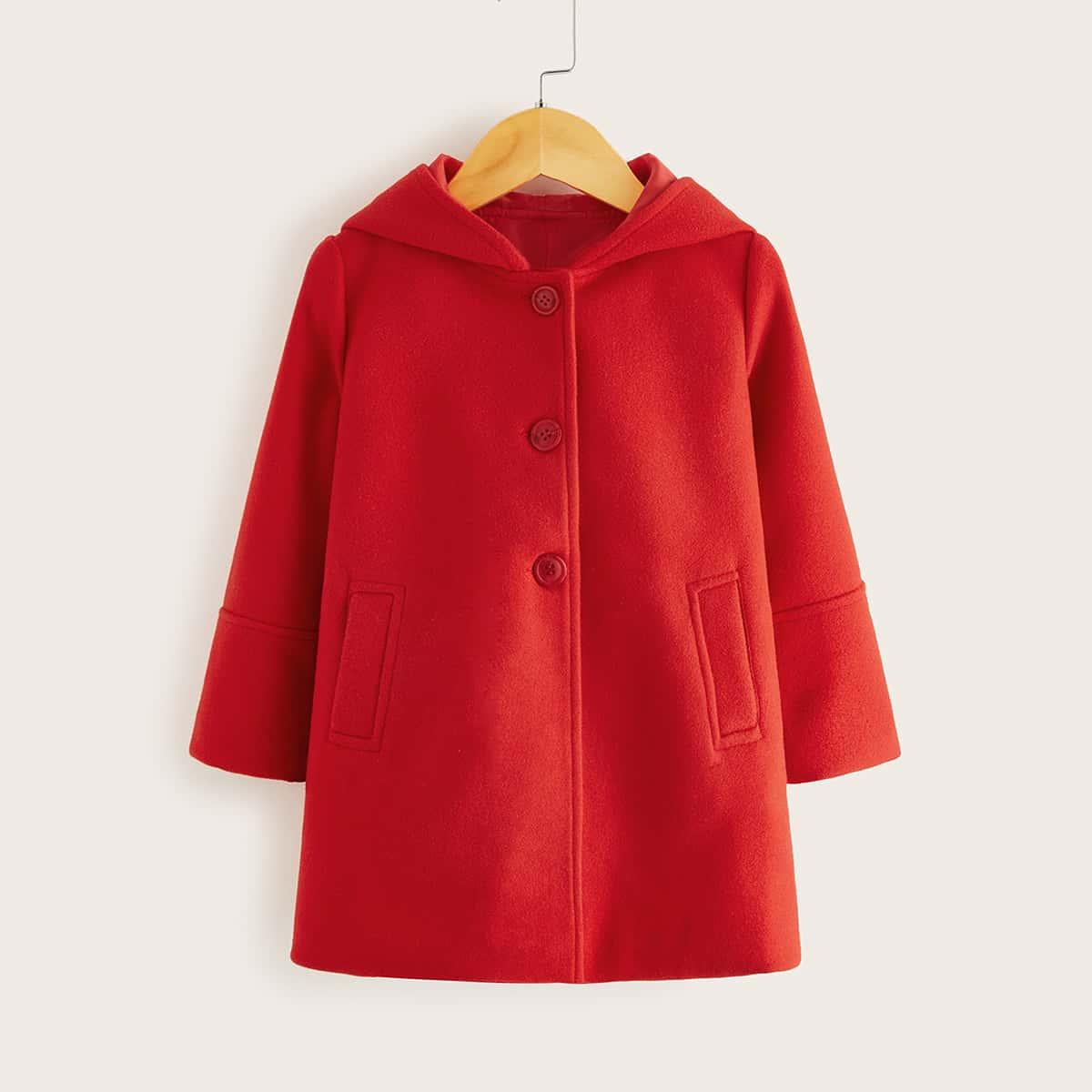 Твидовое пальто с капюшоном и карманом для девочек от SHEIN