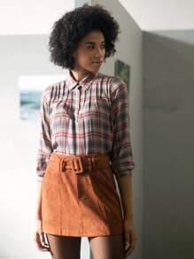 Buckle | Suede | Skirt | Belt