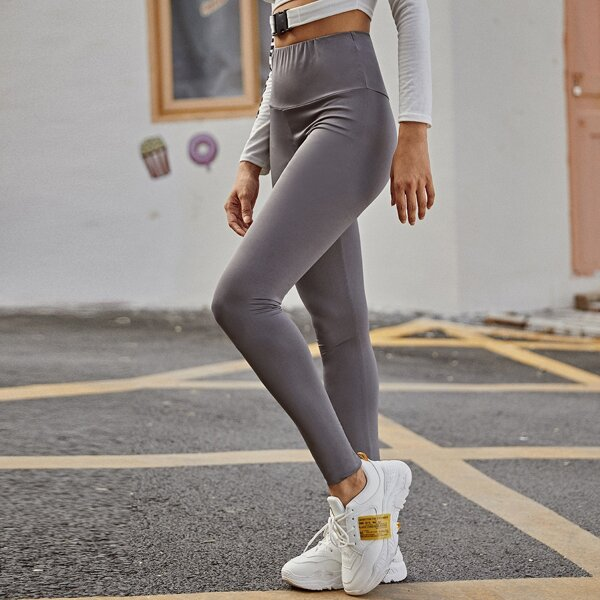Wide Waistband Solid Fitted Leggings, Grey