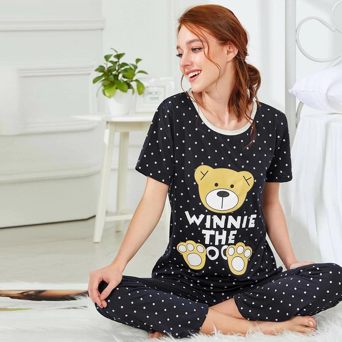 Pyjamaset met beer- en bolletjesprint