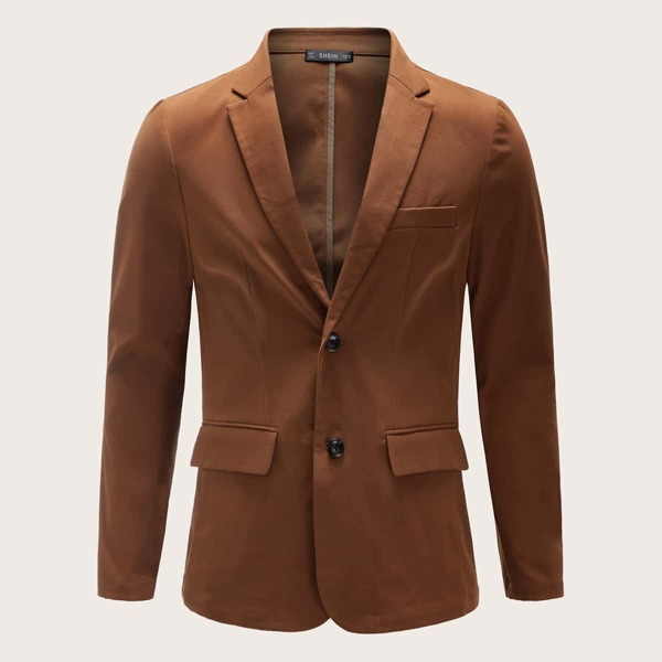 Men Solid Notched Collar Tailored Blazer, Brown