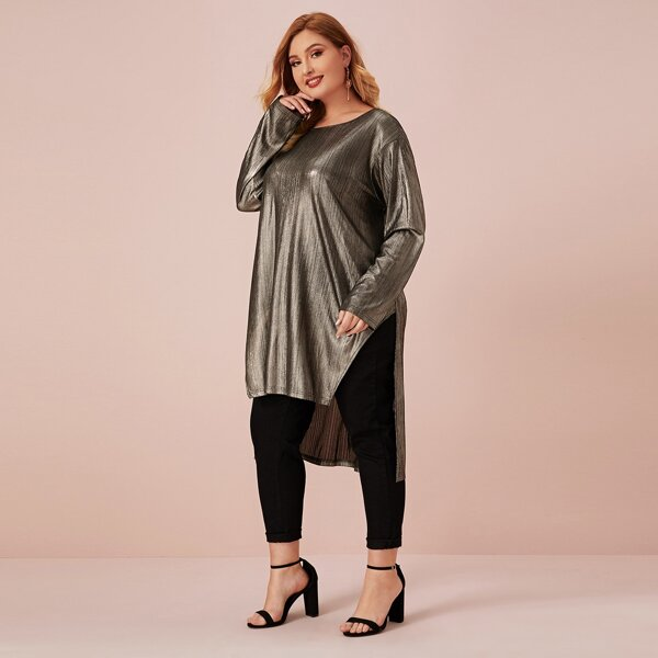 Plus Split Side Dip Hem Metallic Top, Gold