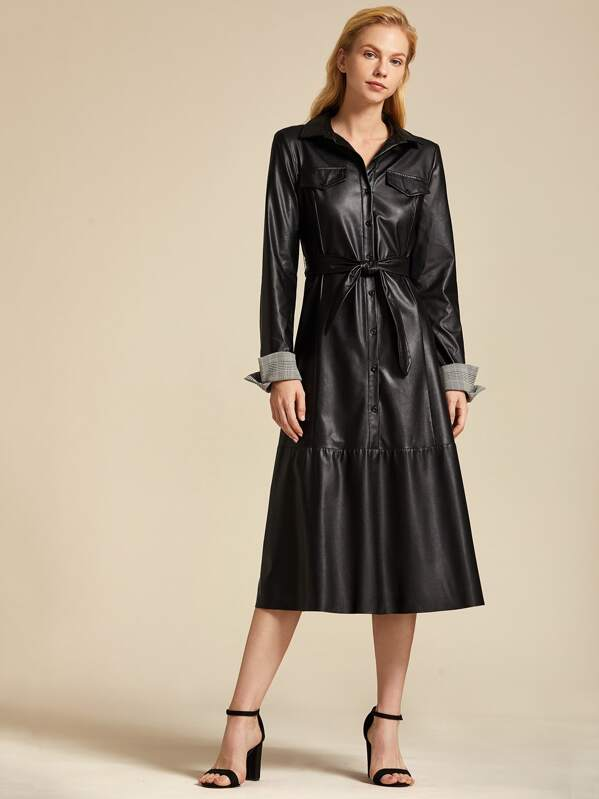 Premium Buttoned Front Contrast Cuff Self Belted PU Dress, Black, Denisa