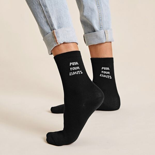 1pair Slogan Graphic Socks, Black