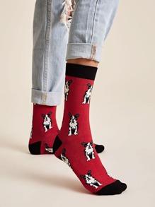 1pair Dog Pattern Socks
