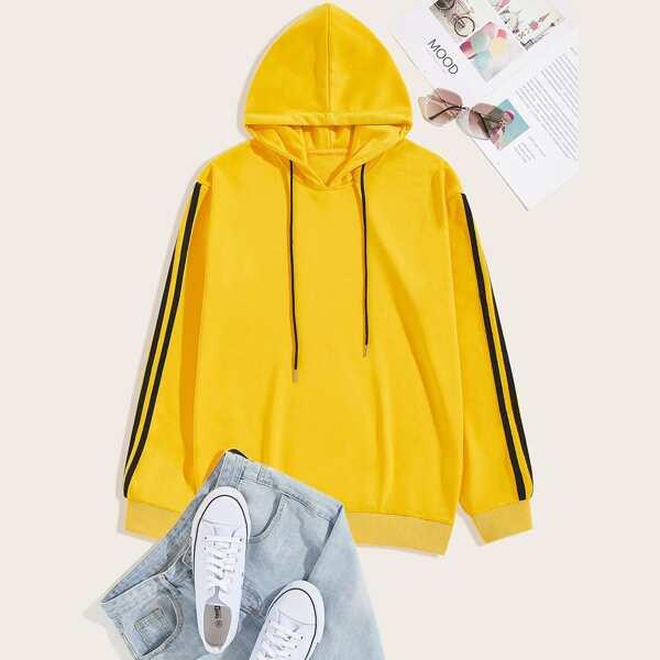Men Drawstring Drop Shoulder Hooded Sweatshirt, Yellow