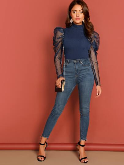 SheIn / Mock-neck Mesh Leg-of-mutton Sleeve Solid Top
