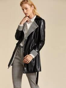 Leather | Collar | Plaid | Belt | Coat | Faux