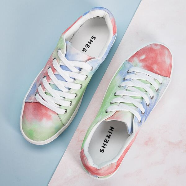 Tie Dye Lace-up Front Sneakers, Multicolor