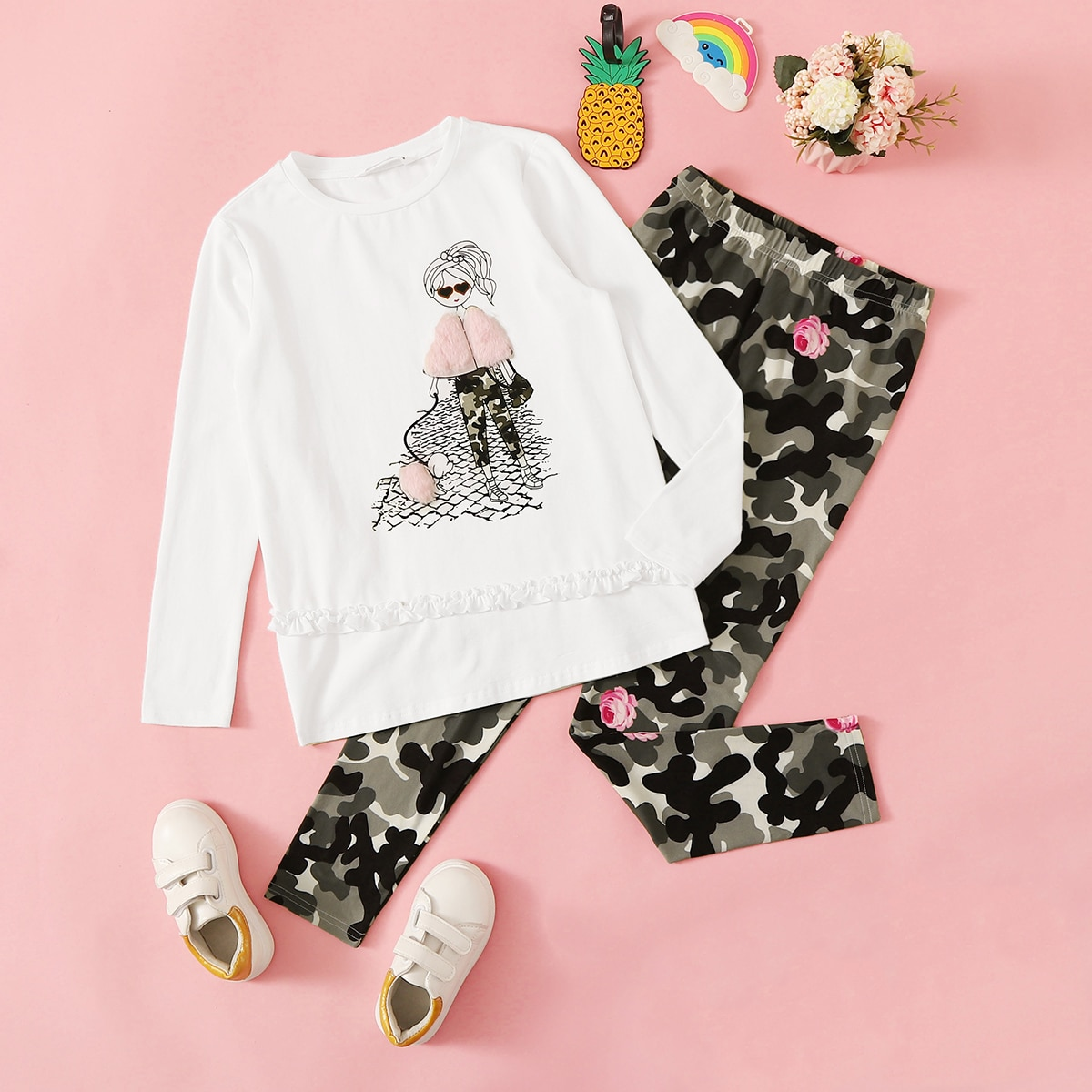 Леггинсы и пуловер с графическим принтом для девочек от SHEIN