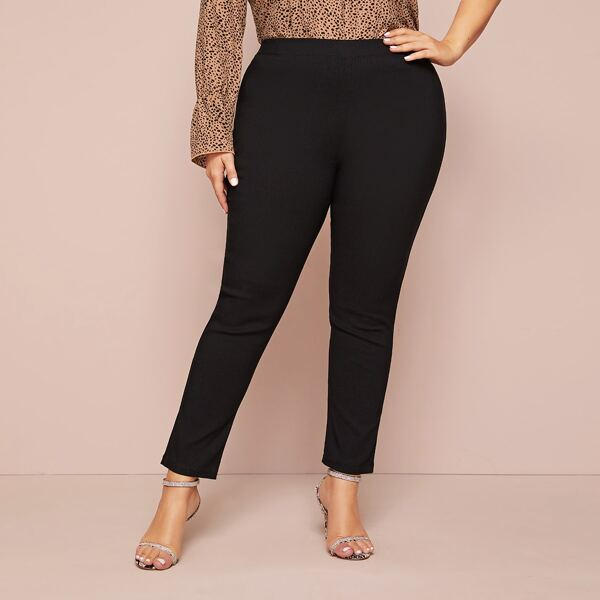 Plus High Waist Solid Skinny Jeans, Black