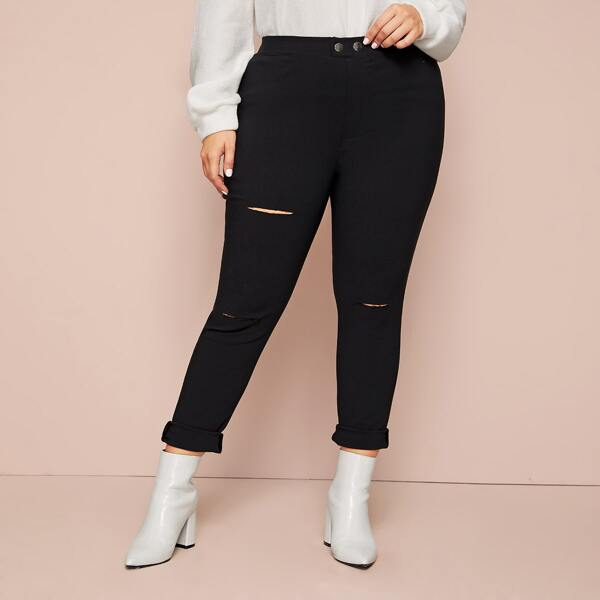 Plus High Waist Ripped Skinny Jeans, Black