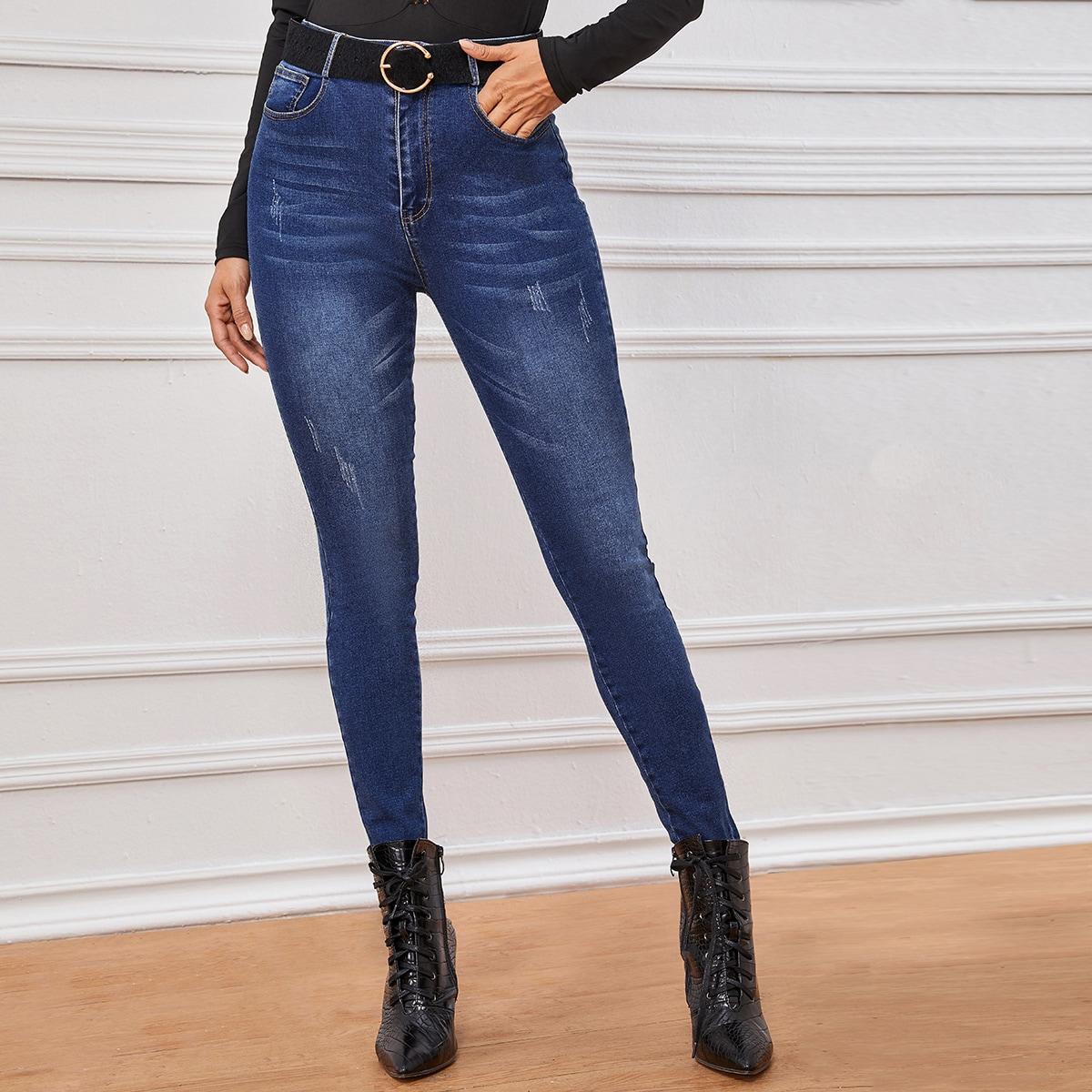 Облегающие рваные джинсы без пояса