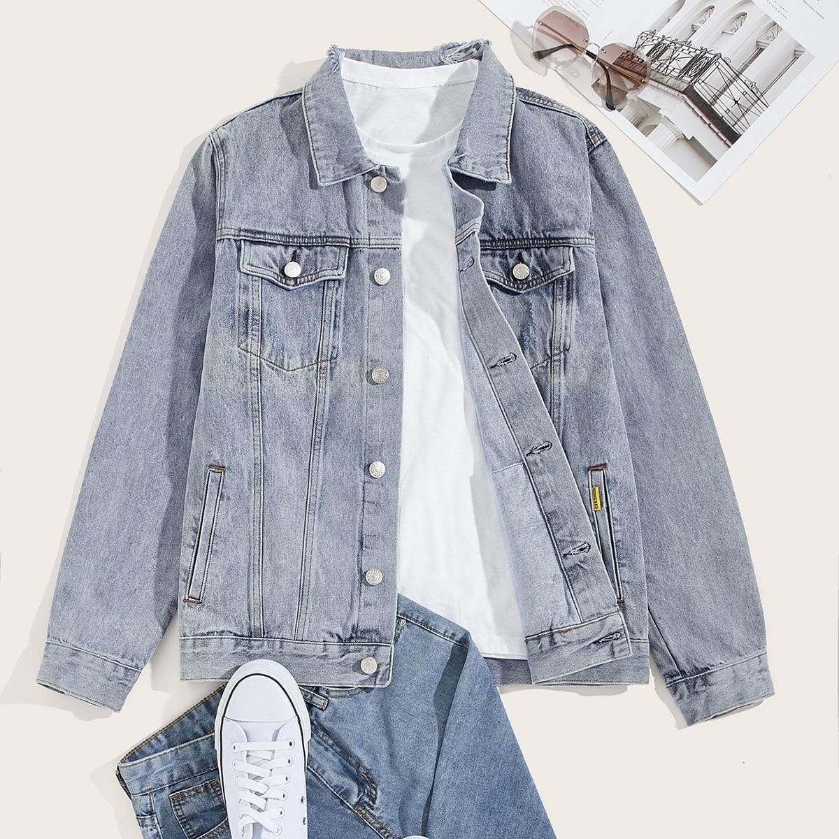 Blauw Casual Vlak Heren Jeans jassen Zak