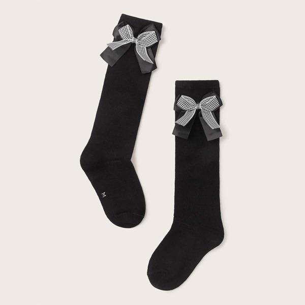 1pair Girls Plaid Bow Knot Decor Knee Length Socks, Black