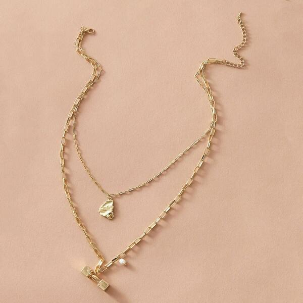 1pc Bell Ring Charm Layered Necklace, Gold