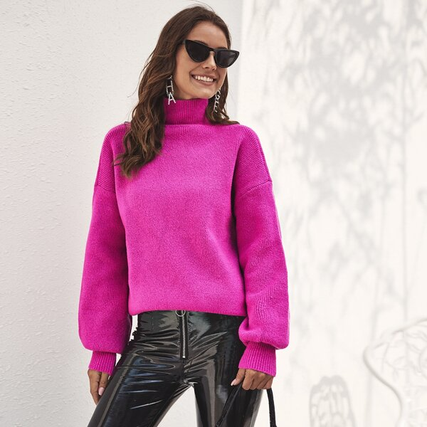 Solid High Neck Ribbed Knit Sweater