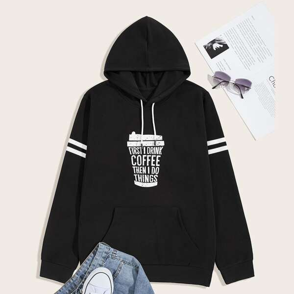 Men Slogan Graphic Drawstring Hooded Sweatshirt, Black
