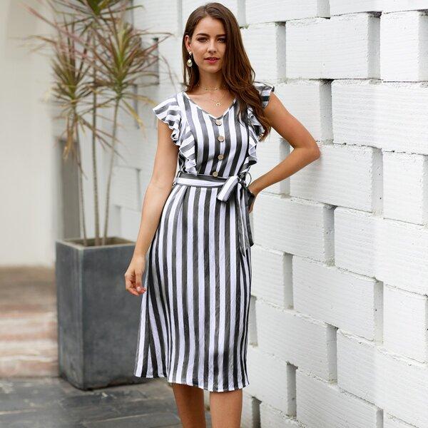 Striped Ruffle Trim Self Tie A-line Dress, Grey