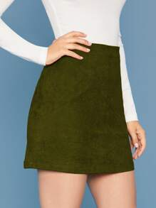 Suede | Solid | Skirt