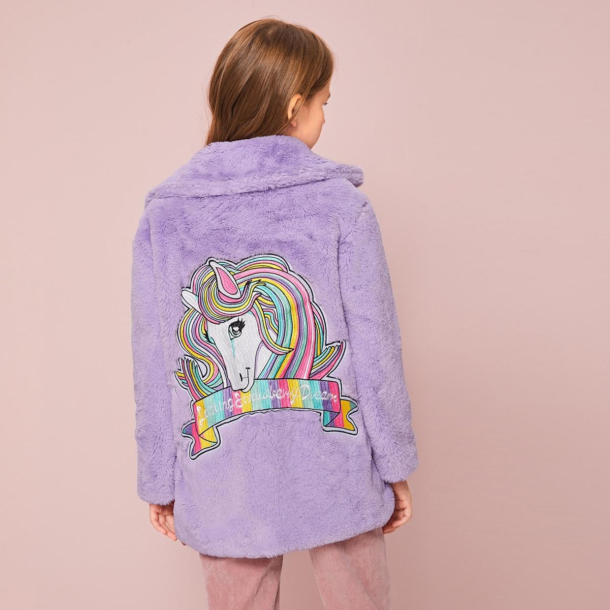 Пальто из искусственного меха с заплатой единарога для девочек от SHEIN