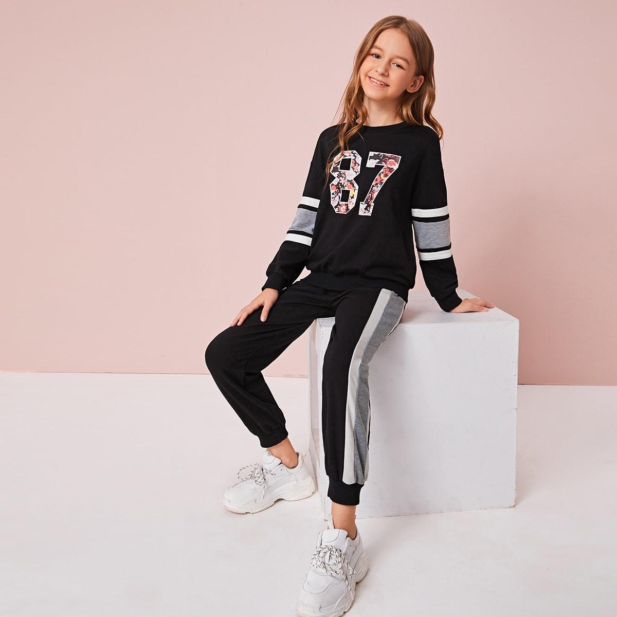 Пуловер с текстовым принтом и контрастные джоггеры для девочек от SHEIN