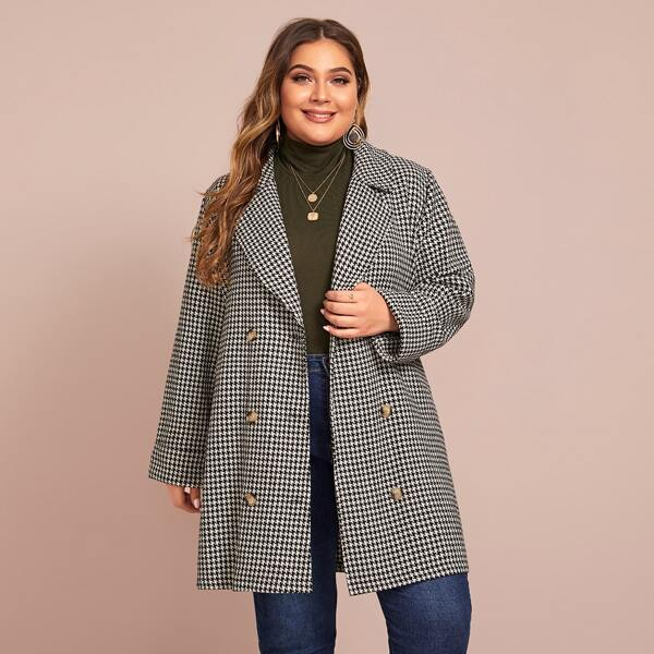 Plus Double Breasted Houndstooth Blazer, Black and white