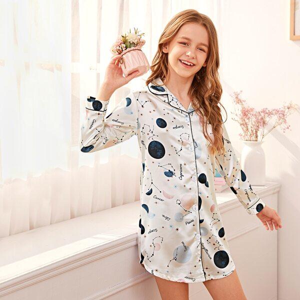 Girls Galaxy Button-up Satin Night Dress, White
