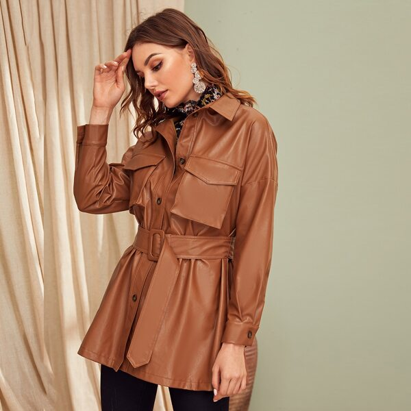 Flap Pocket Front Faux Leather Belted Coat, Brown