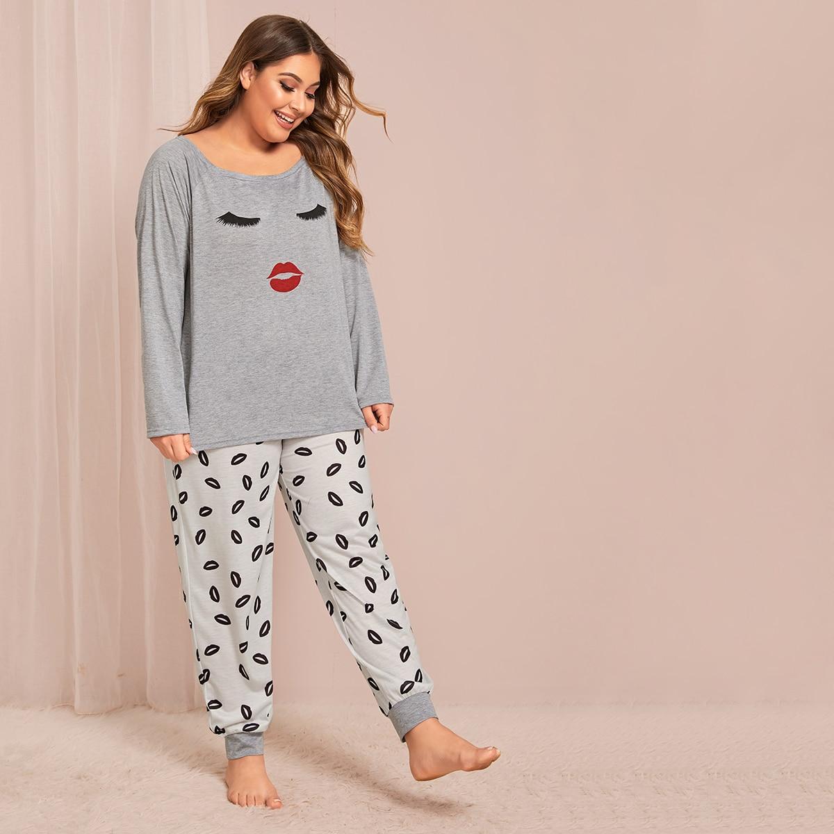 Пижама размера плюс с оригинальным принтом от SHEIN