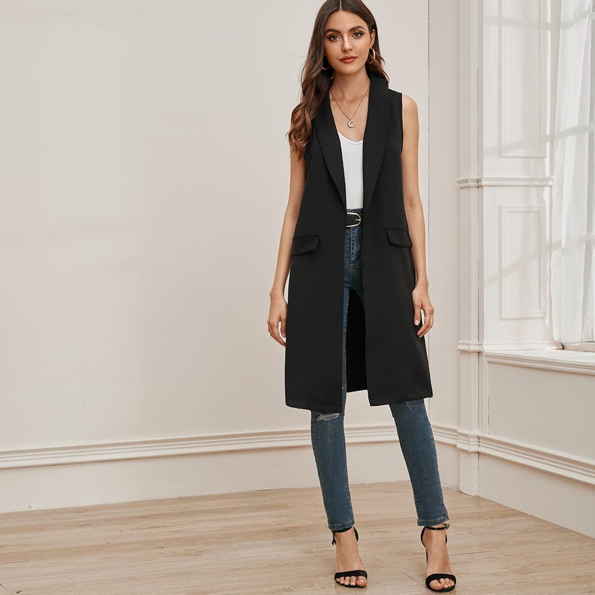 Однотонный жилет-пальто с шалевым вырезом