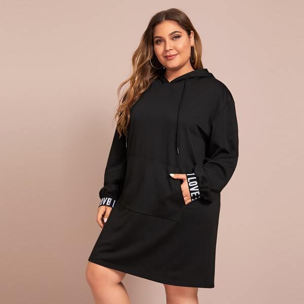 Plus Letter Tape Drawstring Hoodie Dress Without Bag, Black