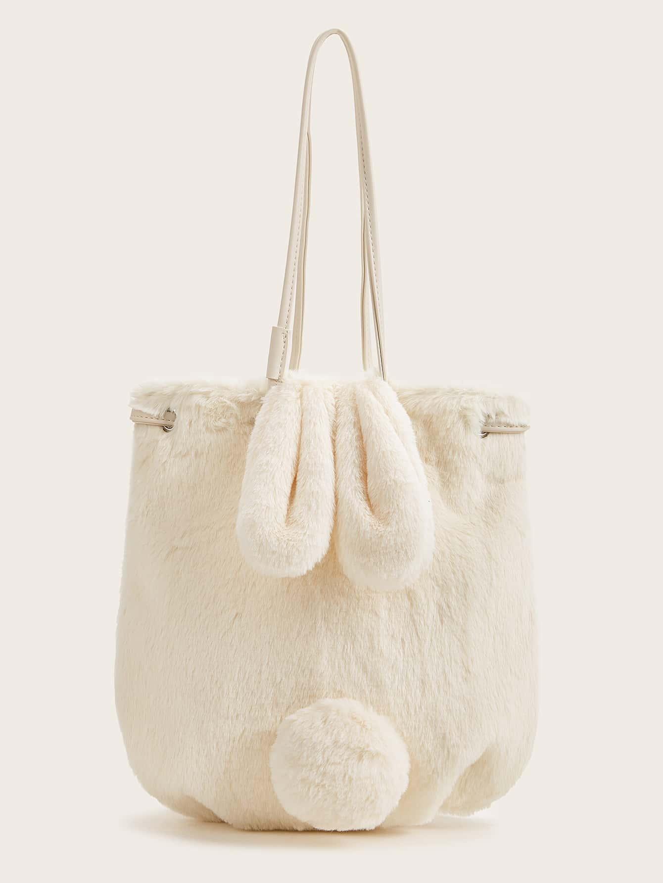 Плюшевая сумка в форме кролика с помпоном