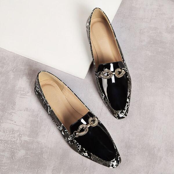 Snakeskin Patent Flat Loafers, Black