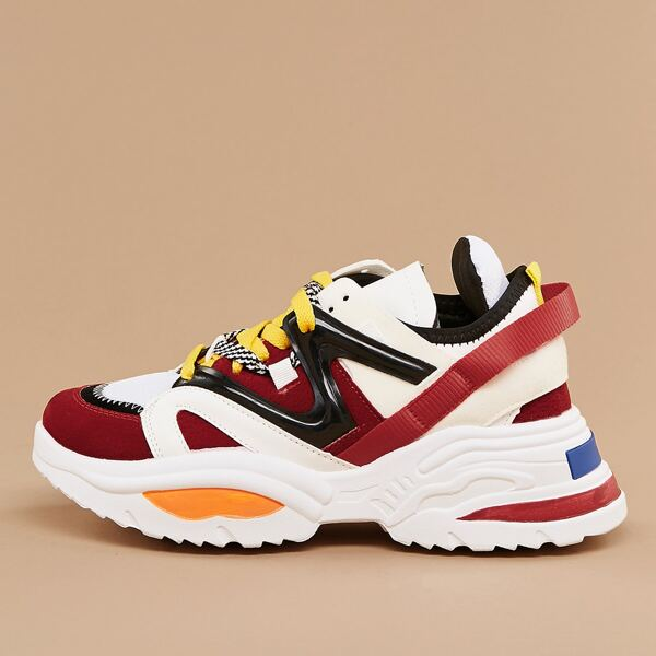Two Tone Lace Front Colorblock Chunky Sneakers, Multicolor