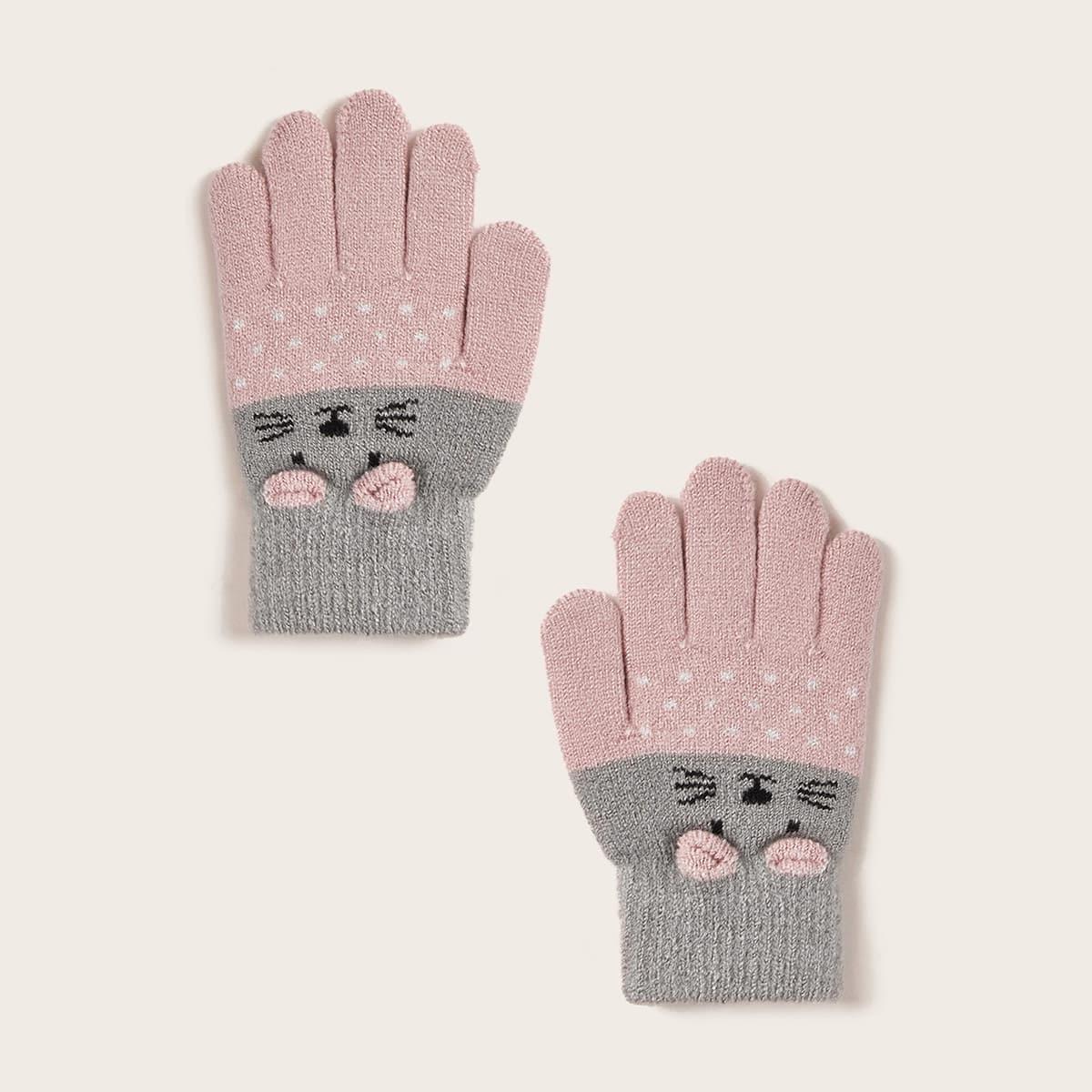 1 paar meisjes cartoon patroon handschoenen