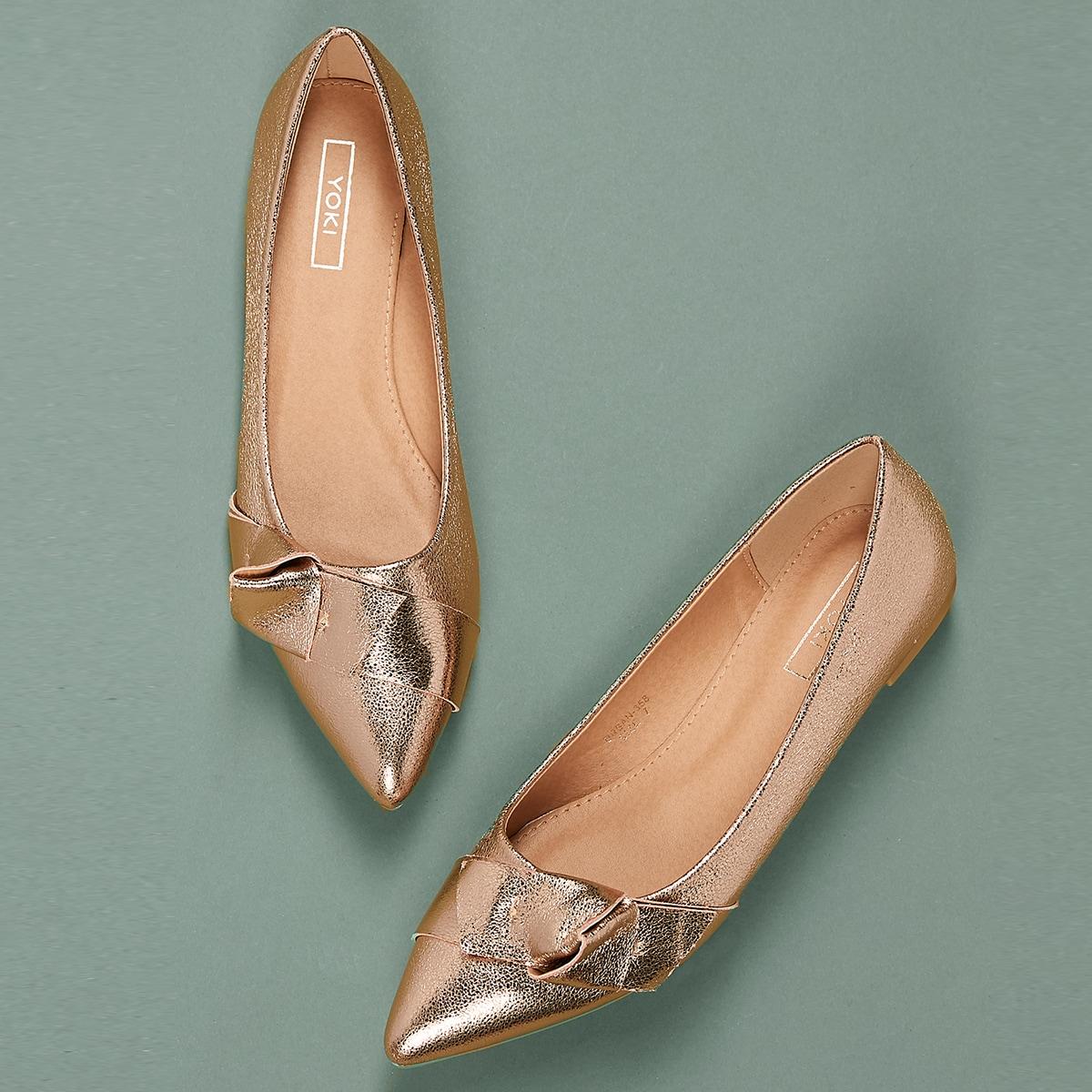 Goud Comfortabel Vlak Ballerina's