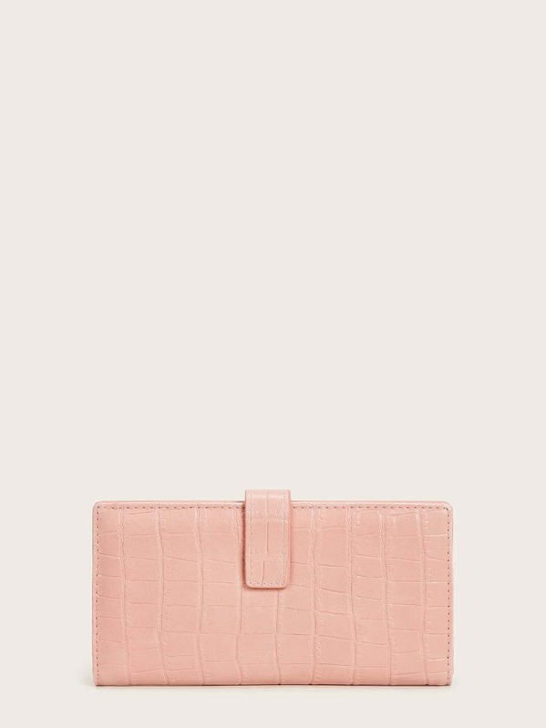 Croc Embossed Fold Cover Purse, Pink