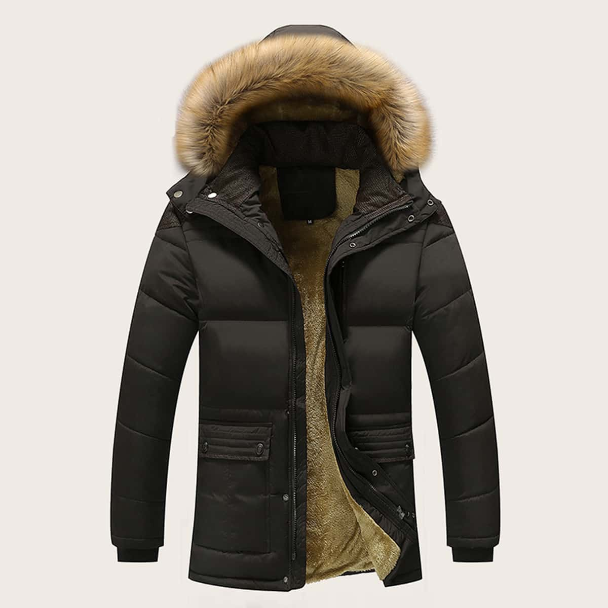 Men Sherpa Lined Hooded Puffer Coat