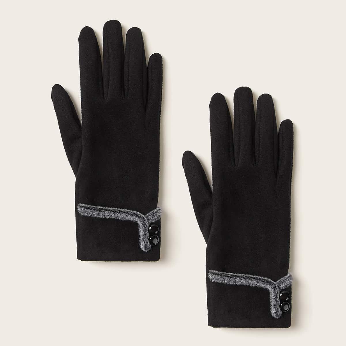 1 paar knop decor handschoenen