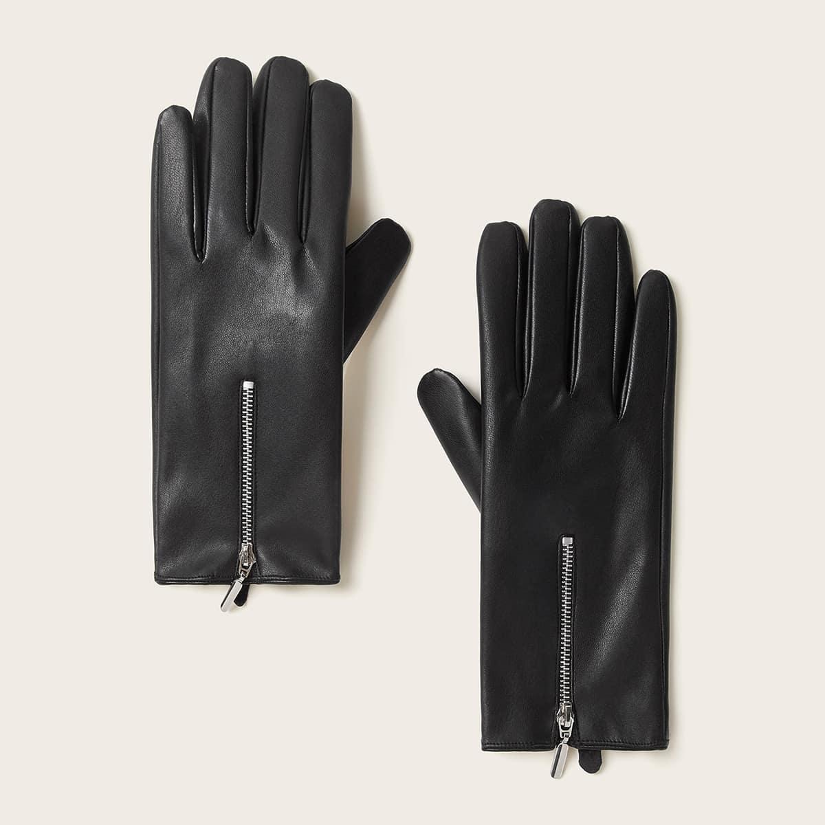 1 paar PU-handschoenen met ritssluiting