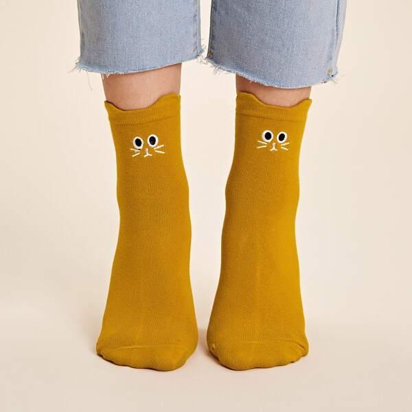 1pair Cartoon Embroidery Socks, Yellow