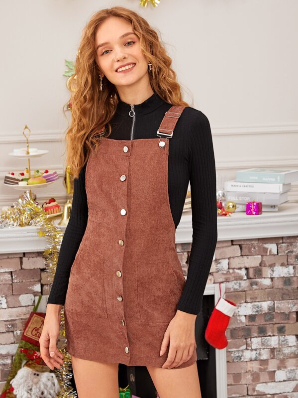 Solid Button Through Corduroy Overall Dress, Brown, Sava